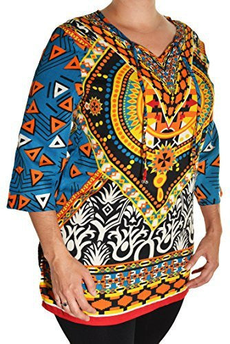 Highness Womens Plus Size Geometric Henley Tunic Shirt (Blue Yellow Multi),Tunics,Highness - Discount Divas