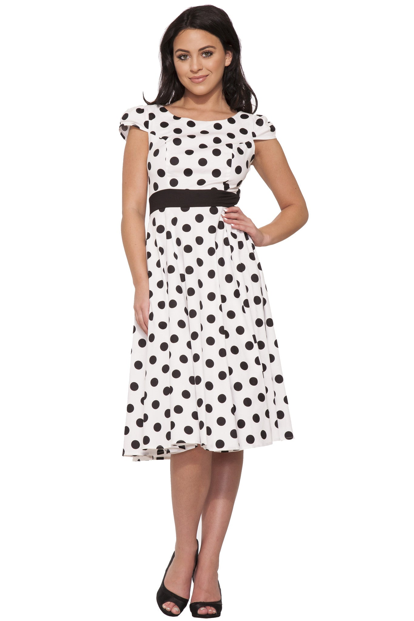 Hearts and Roses of London Dancing Dots Full Swing Dress,Dress,Hearts and Roses London - Discount Divas