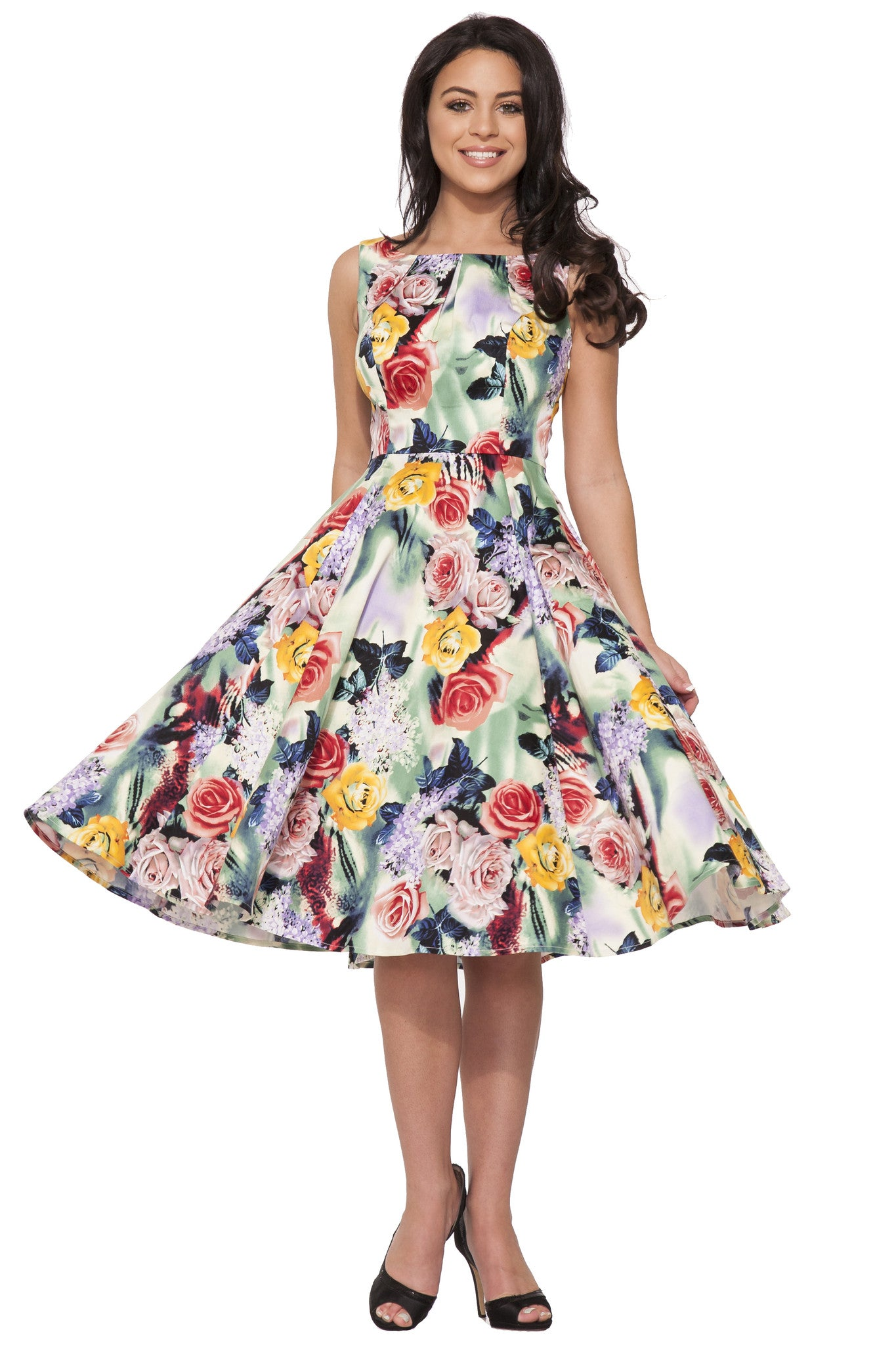 Annabella Floral Swing Dress,Dress,Hearts and Roses London - Discount Divas