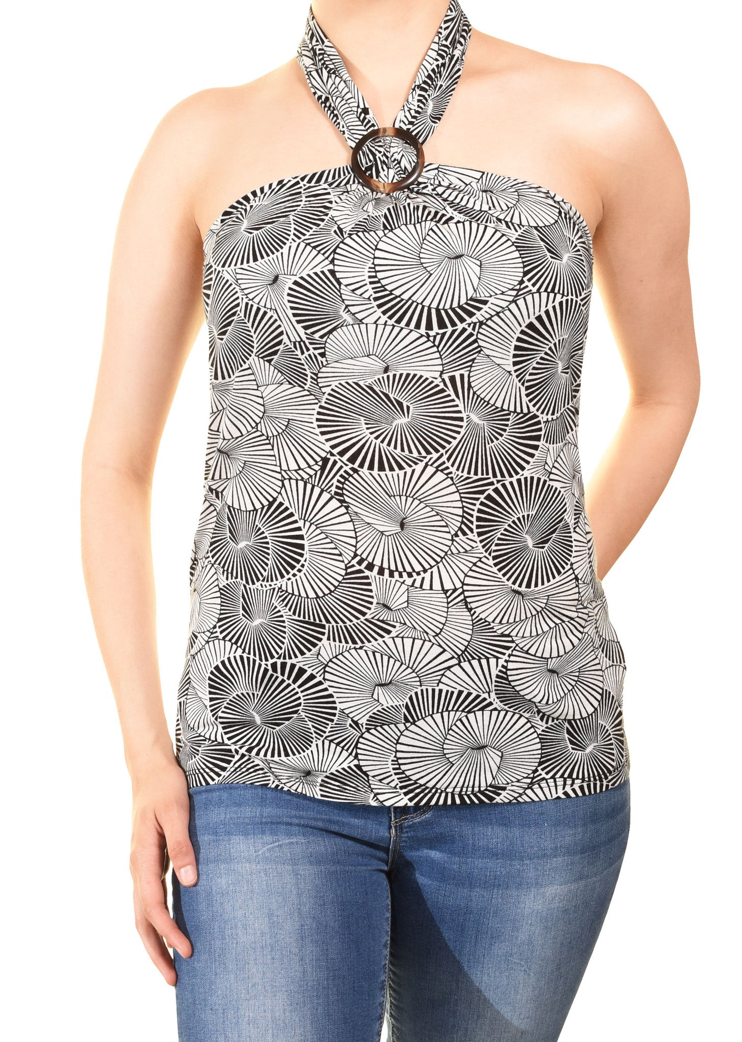 Banana Republic O Ring Halter Shirt (Black White Floral),Shirts,Banana Republic - Discount Divas