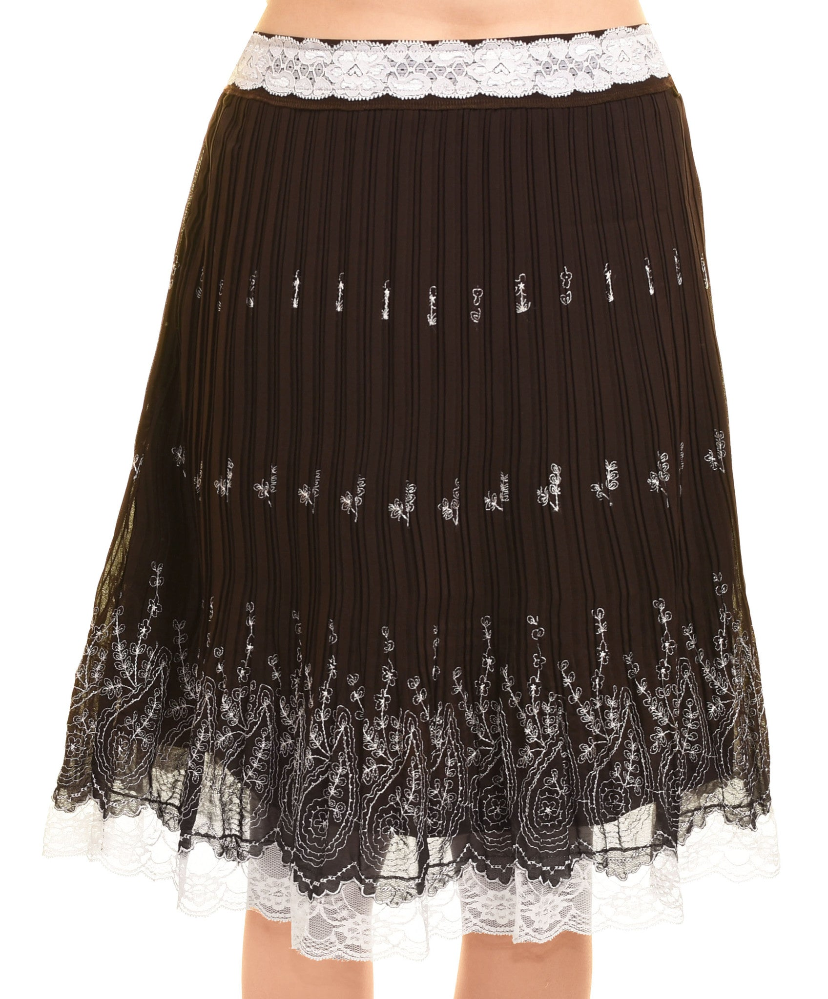 Accordion Pleated Chiffon Skirt,Skirts,Style - Discount Divas