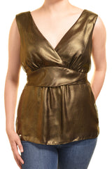 Ann Taylor Gold Cocktail Blouse (Metallic Gold),Shirts,Ann Taylor - Discount Divas