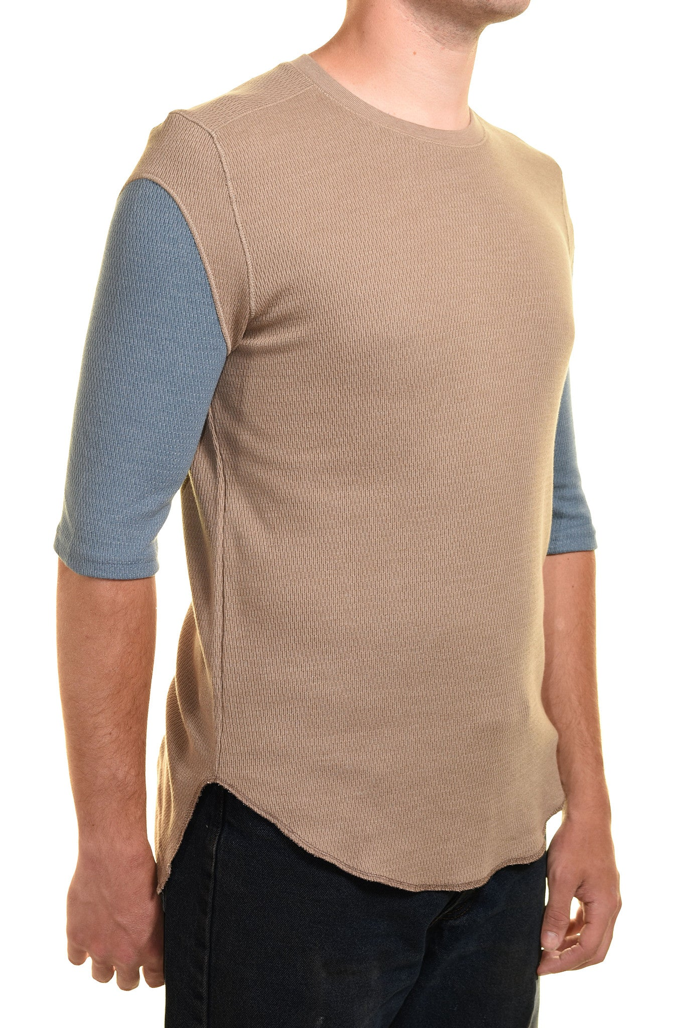 Koto Mens Thermal Tee Half Sleeve Shirt | Blue Brown