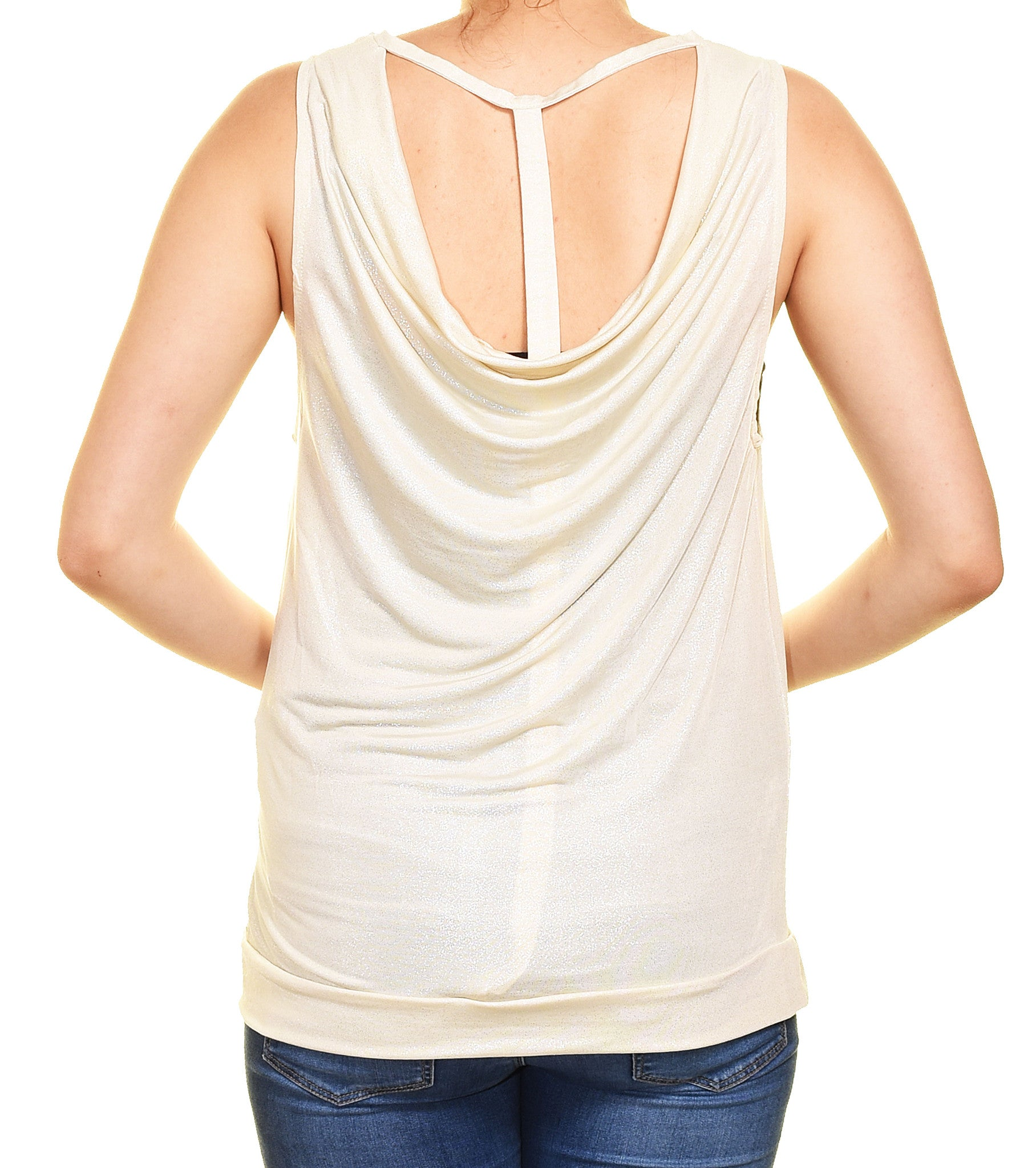 Banana USA Sexy Shimmer Club Tank (Ivory Beige Gold),Shirts,Banana USA - Discount Divas