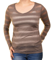 Ann Taylor Sheer Layering Tee (Brown Striped)