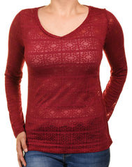 Ann Taylor Sheer Layering Tee (Red Geometric)