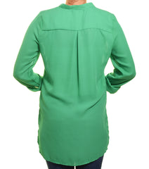 Carrie Allen Drop Tail Henley Blouse (Emerald Green)