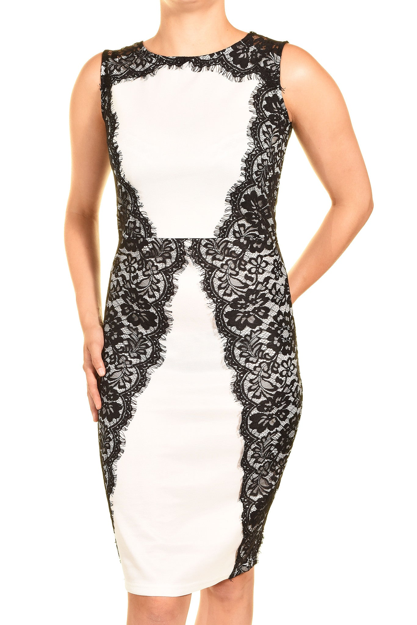 Elar Lace Overlay Cocktail Dress (White Black Lace),Dress,Elar - Discount Divas
