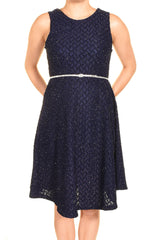 Elar Soft Sparkle Crystal Belted Aline Cocktail Dress | Navy Blue,Dress,Elar - Discount Divas