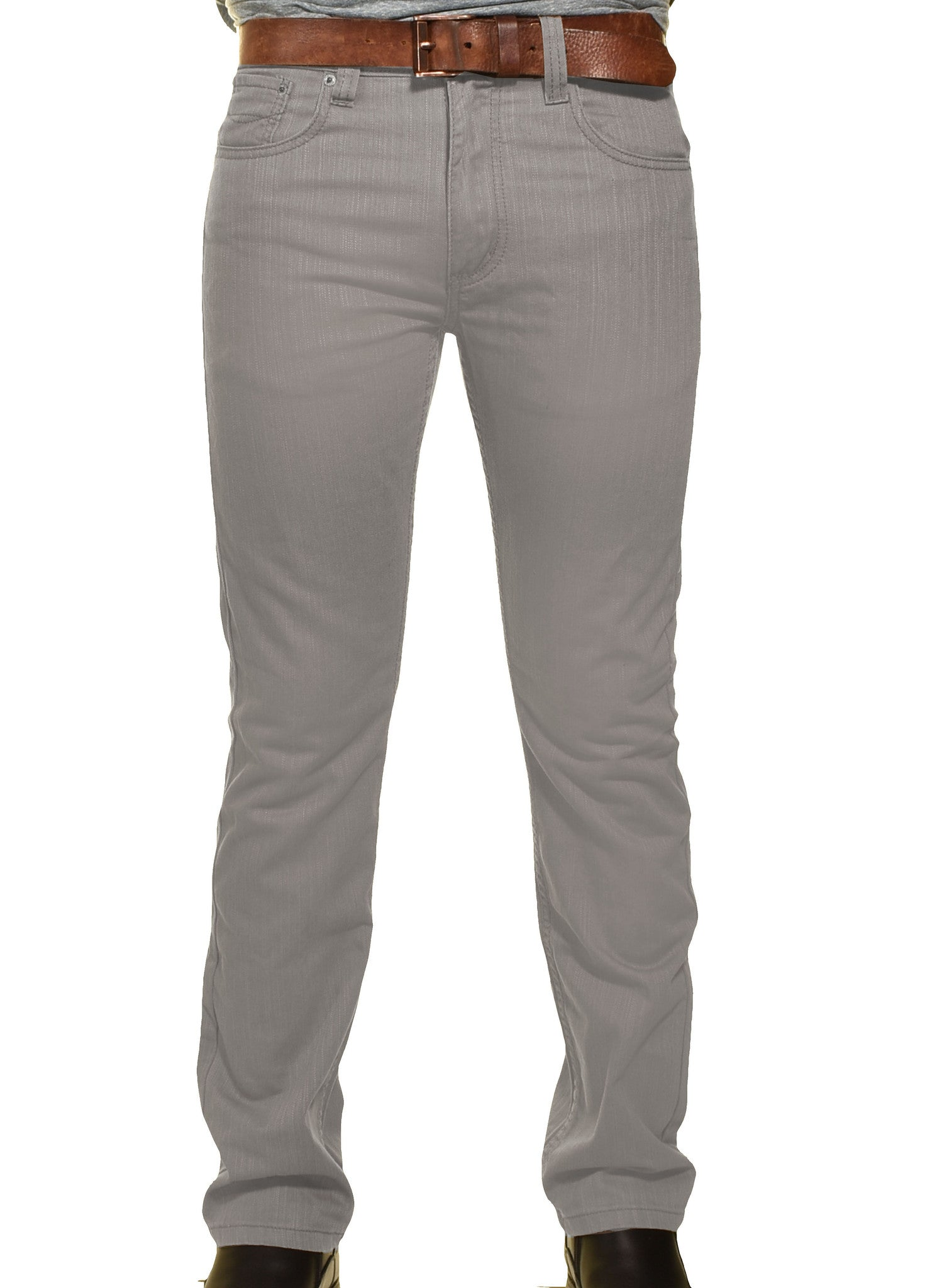 Victorious Mens DL991 Slim Fit Premium Jeans | Light Gray