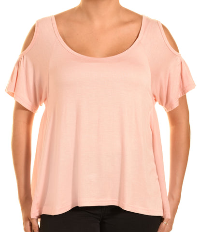 Ellie & Kate Cold Shoulder Butter Soft Aline Shirt (Pink)