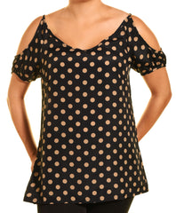Feline Cold Shoulder Polka Dot Shirt (Black Brown)