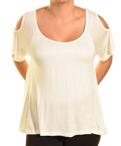 Ellie & Kate Cold Shoulder Butter Soft Aline Shirt (White)