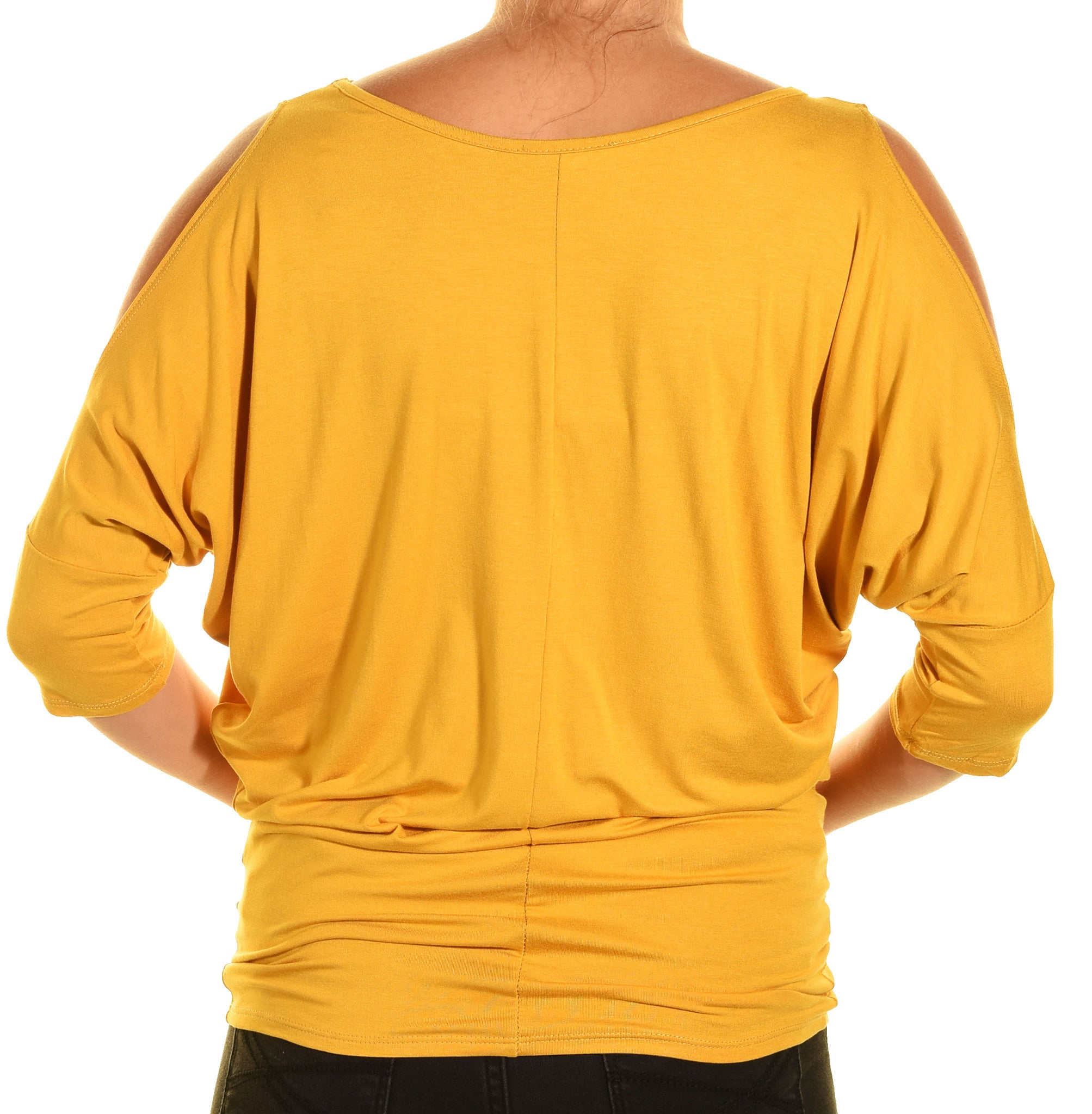 Emmas Closet Cold Shoulder Long Dolman Shirt | Yellow
