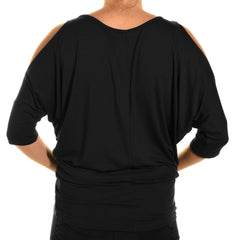Emmas Closet Cold Shoulder Long Dolman Shirt | Black,Shirts,Emmas Closet - Discount Divas