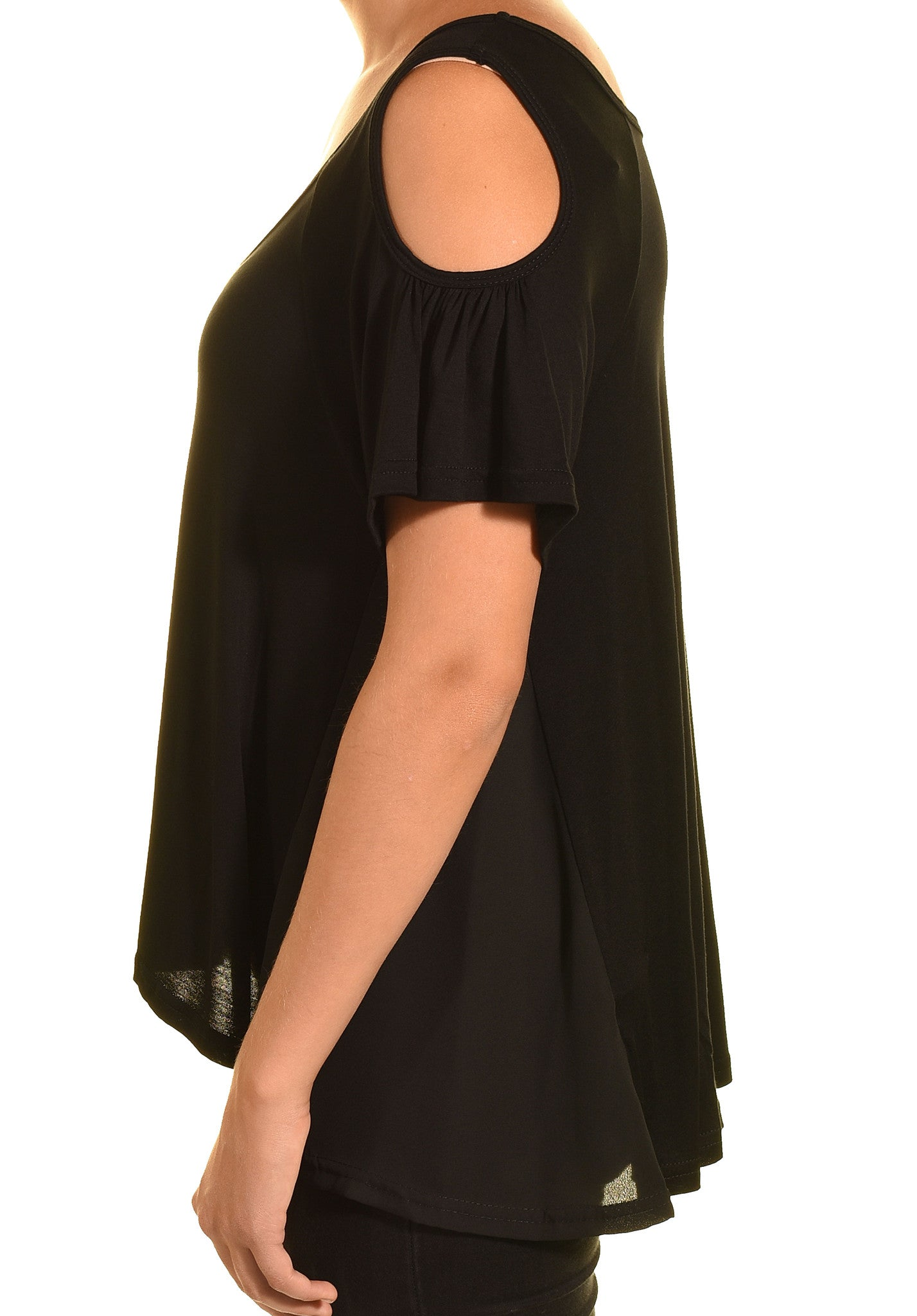 Ellie & Kate Cold Shoulder Butter Soft Aline Shirt (Black)