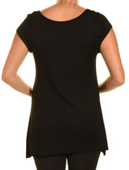 Ellie & Kate V-Neck Butter Soft Tunic Shirt | Black,Shirts,Ellie & Kate - Discount Divas