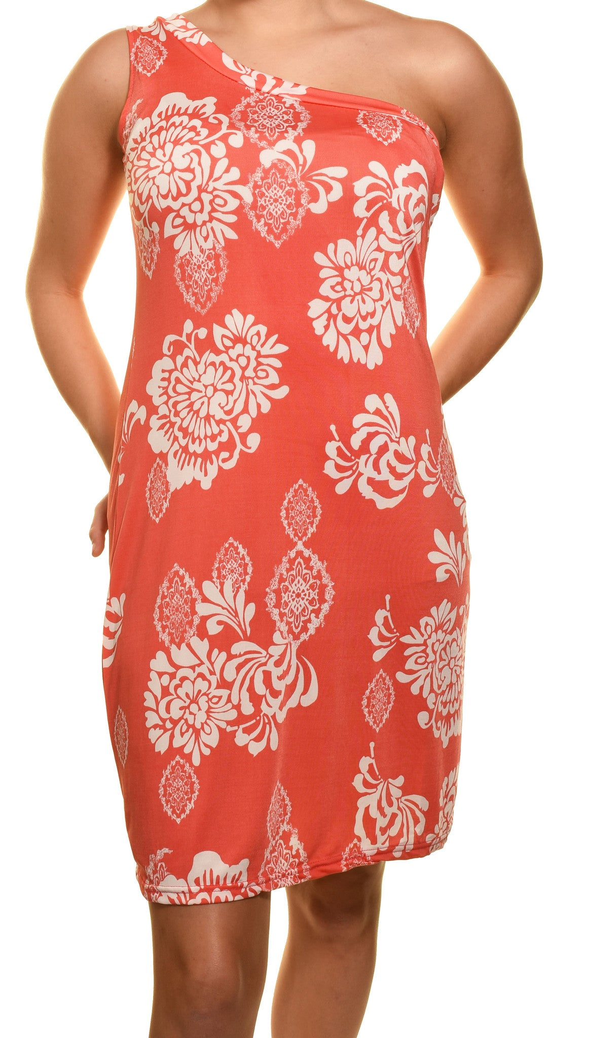 One Shoulder Floral Sheath Dress