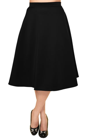 Avital Solid Full Aline Scuba Knit Midi Skirt | Black