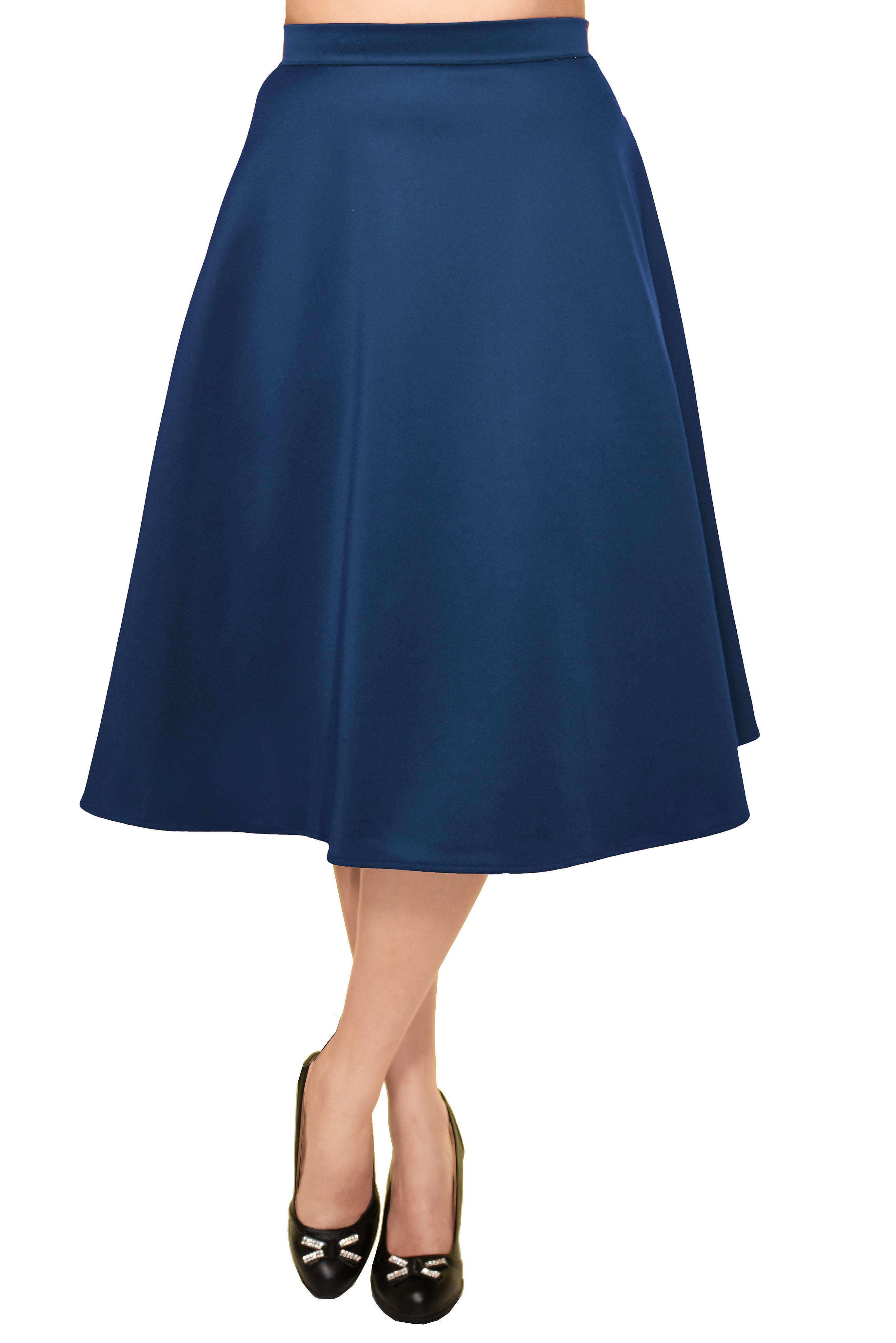 Avital Solid Full Aline Scuba Knit Midi Skirt | Teal Blue,Skirts,Avital - Discount Divas