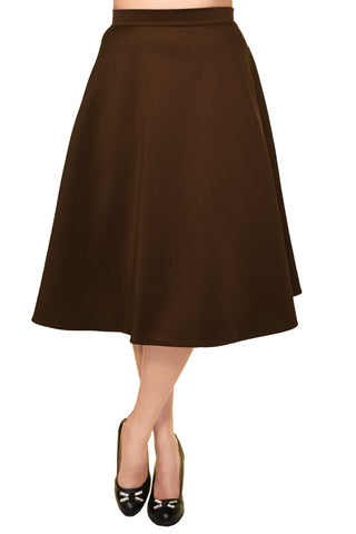 Avital Solid Full Aline Scuba Knit Midi Skirt | Brown