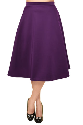 Avital Solid Full Aline Scuba Knit Midi Skirt | Purple