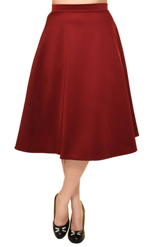 Avital Solid Full Aline Scuba Knit Midi Skirt | Red