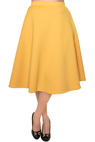 Avital Solid Full Aline Scuba Knit Midi Skirt | Mustard Yellow