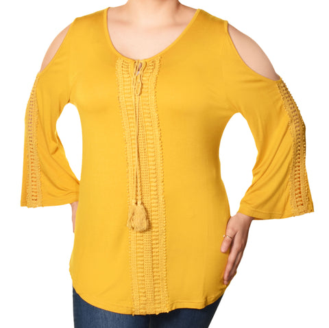 Araza Womens Plus Size Boho Lace Cold Shoulder Shirt | Yellow
