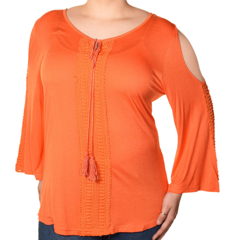 Araza Womens Plus Size Boho Lace Cold Shoulder Shirt | Orange,Shirts,Araza - Discount Divas