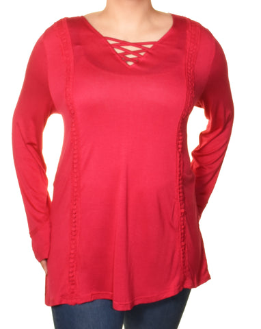 Araza Womens Criss Cross Boho Trim Tunic Shirt | Pink