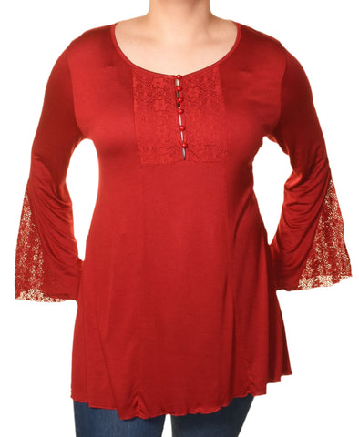 Araza Lace Trim Bell Sleeve Tunic Shirt | Red,Shirts,Araza - Discount Divas