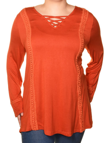 Araza Womens Criss Cross Boho Trim Tunic Shirt | Orange