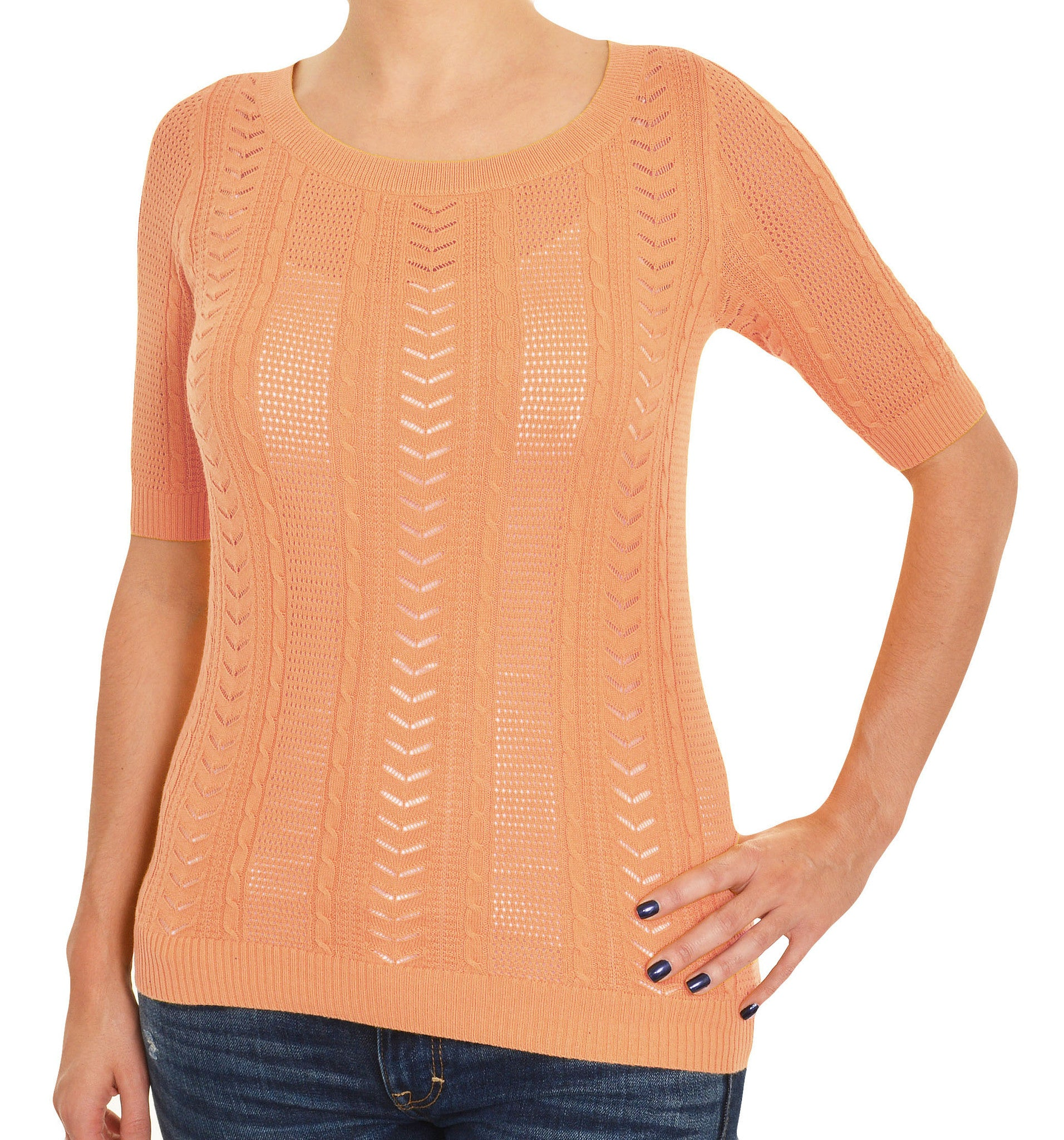 Ann Taylor Lace Knit Layering Shirt (Sherbet Orange),Shirts,Ann Taylor - Discount Divas