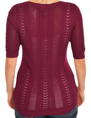 Ann Taylor Lace Knit Layering Shirt (Burgundy Red),Shirts,Ann Taylor - Discount Divas