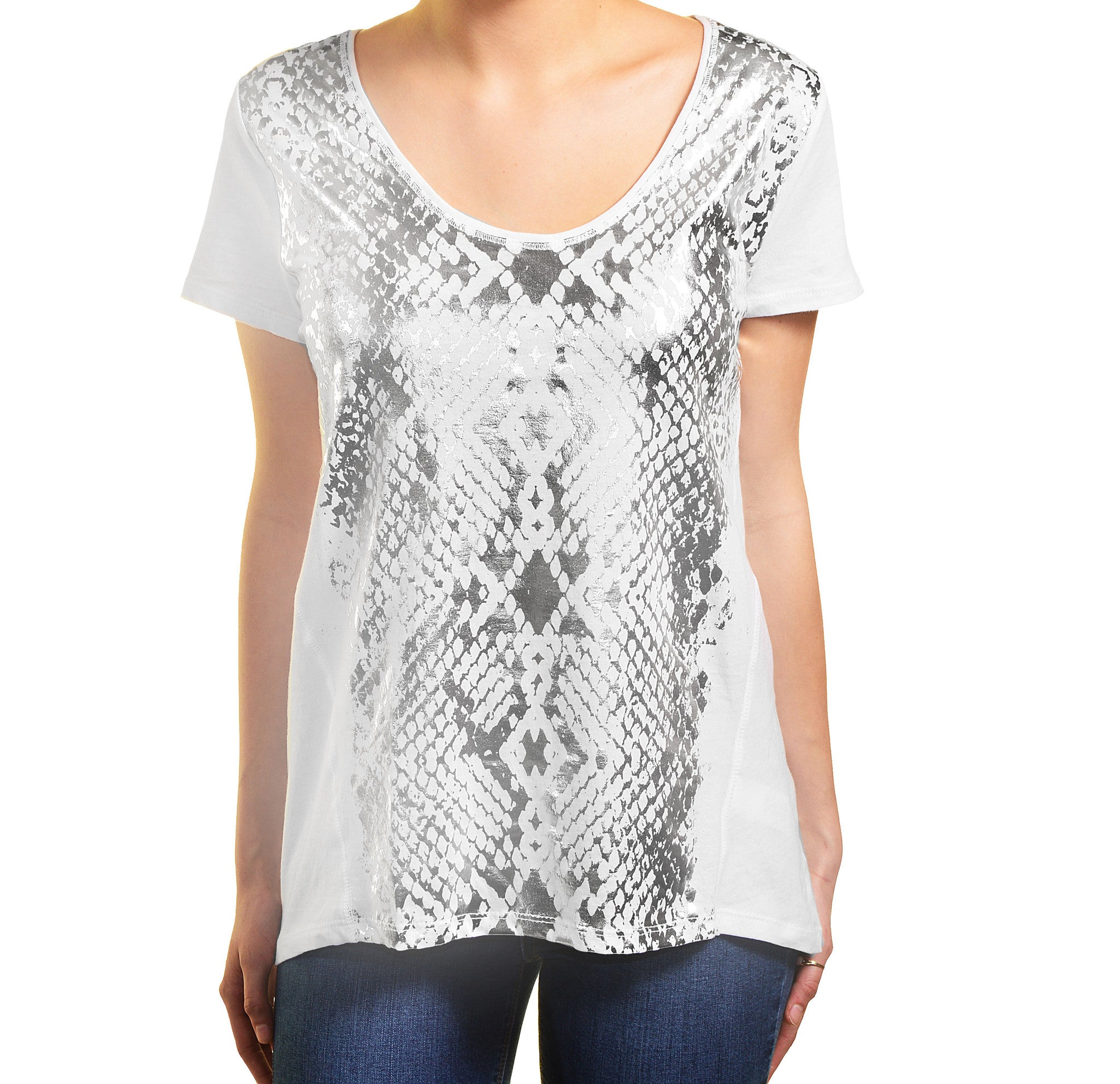 DKNY Jeans Womens Short Sleeve Scoop Neck Tee
