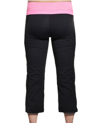 Capri Reversible Yoga Workout Pants (Black Pink),Pants,Kirkland Signature - Discount Divas