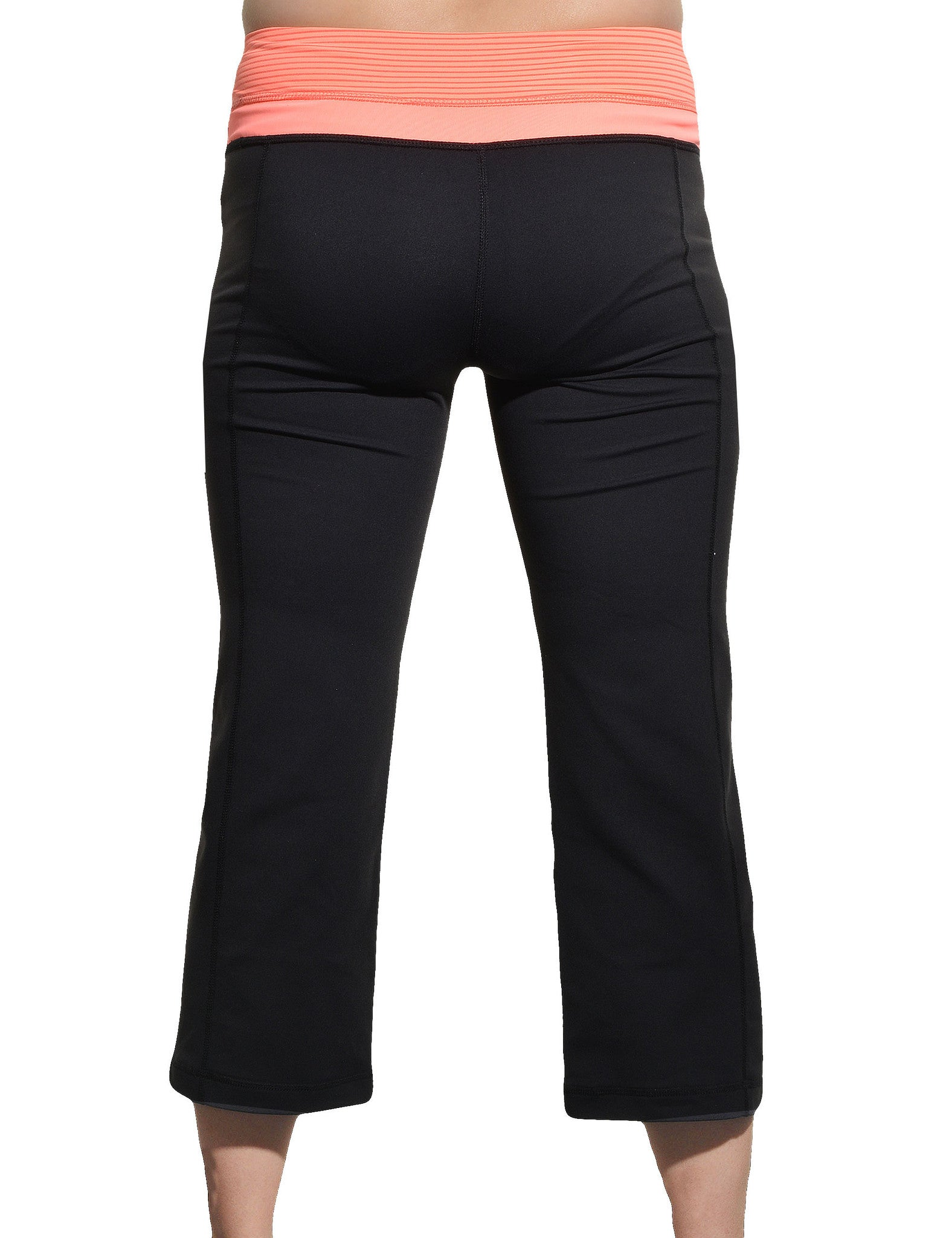 Capri Reversible Yoga Workout Pants (Black Orange),Pants,Kirkland Signature - Discount Divas