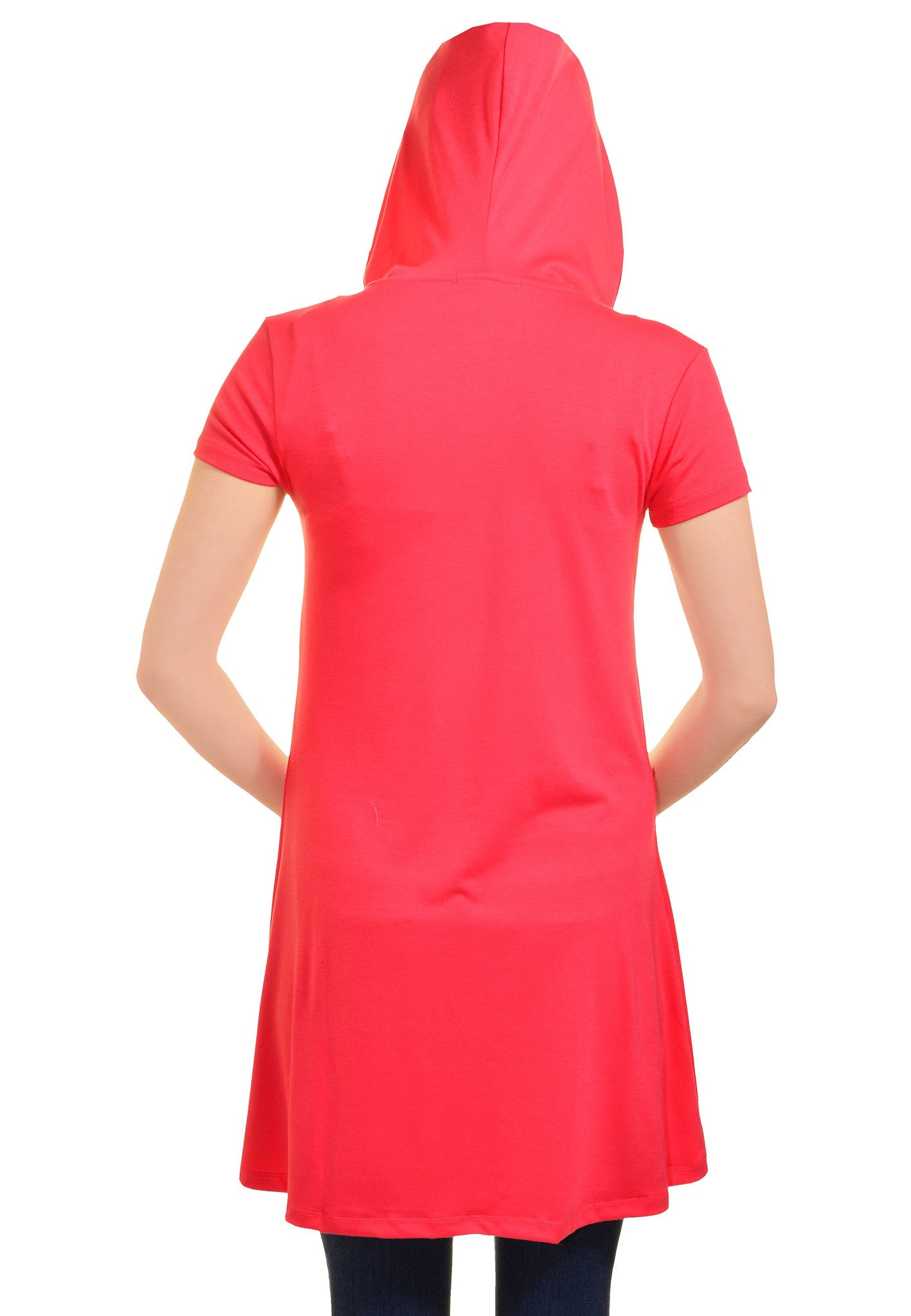 Ellie & Kate Hooded T-Shirt Dress (Coral Pink)