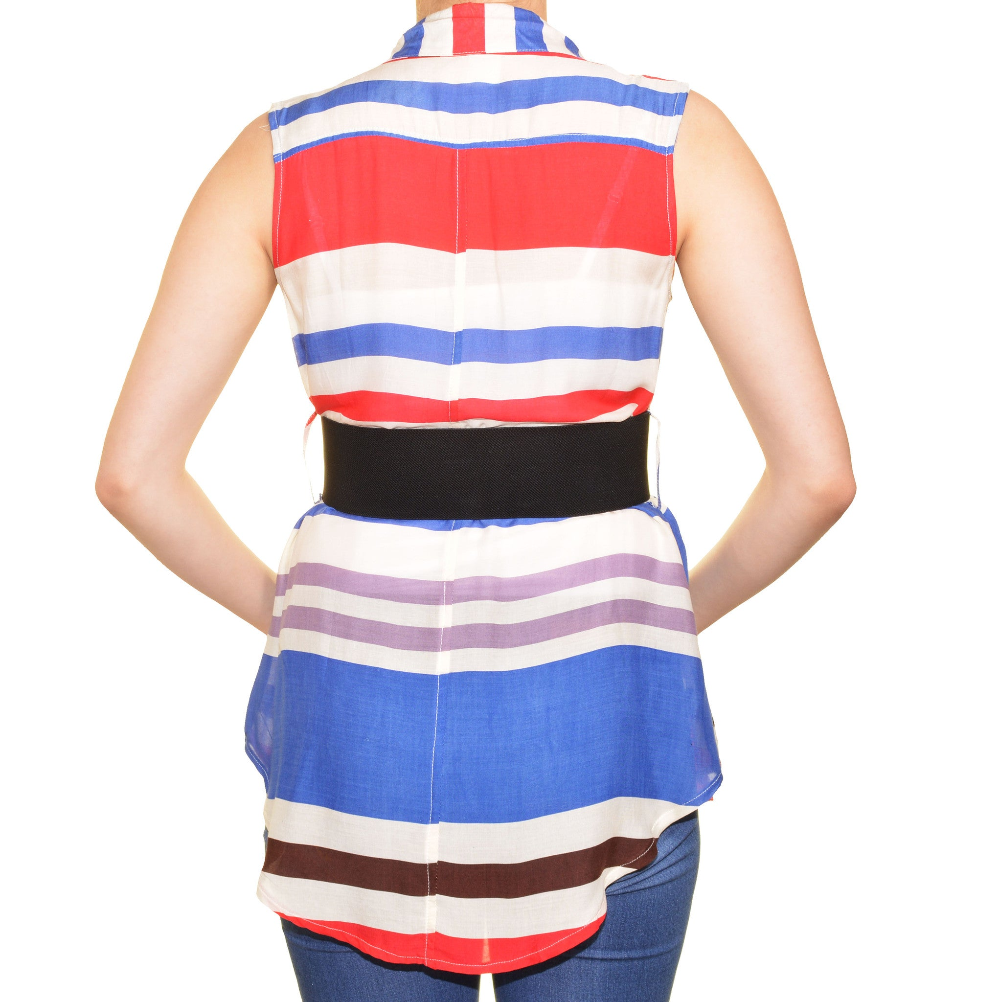 Feline Striped Wide Elastic Belted Sleeveless Shirt (Red White Blue)