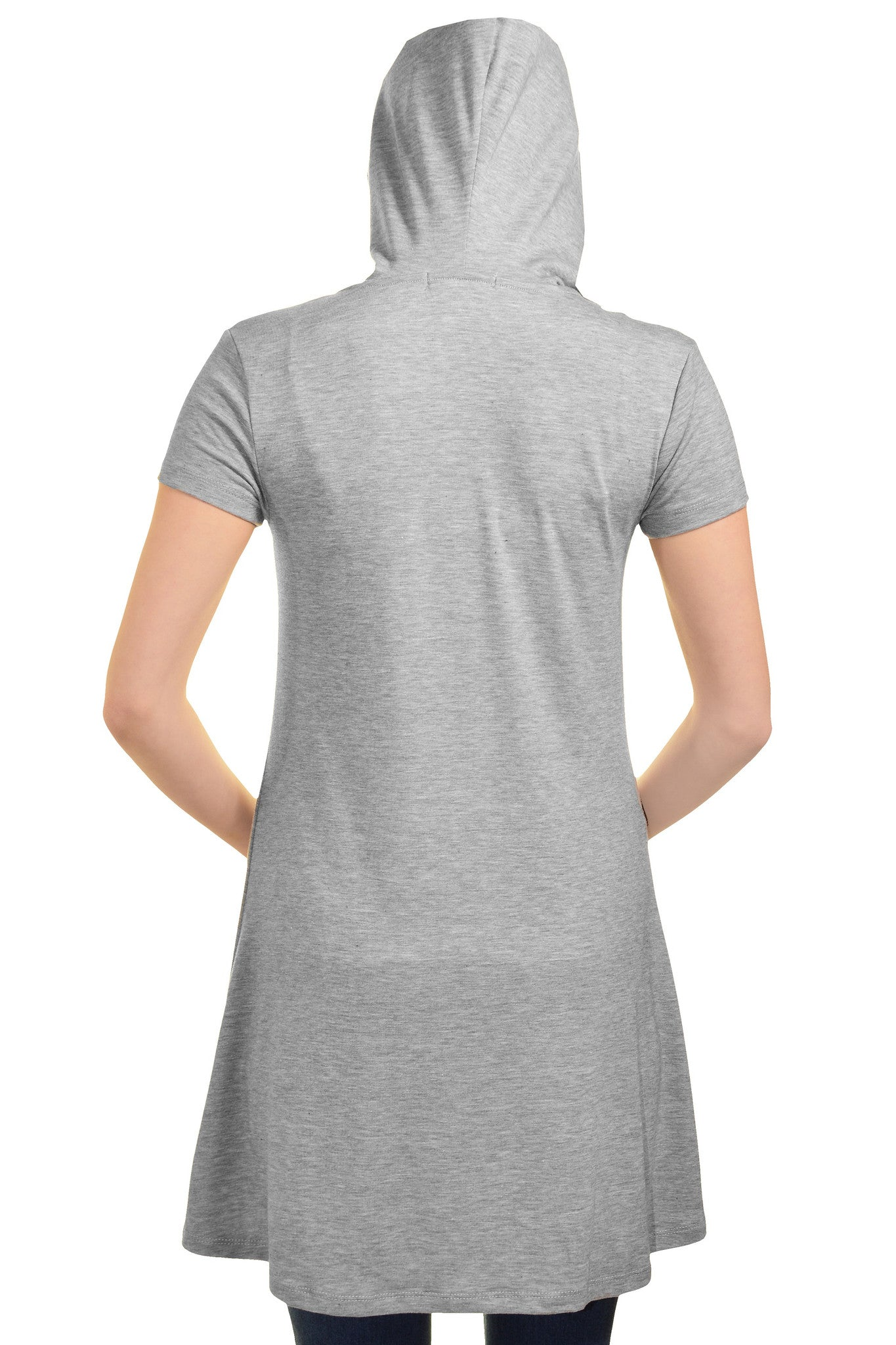 Ellie & Kate Hooded T-Shirt Dress (Heather Gray)
