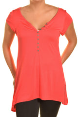 Ellie & Kate V-Neck Butter Soft Tunic Shirt | Coral Pink