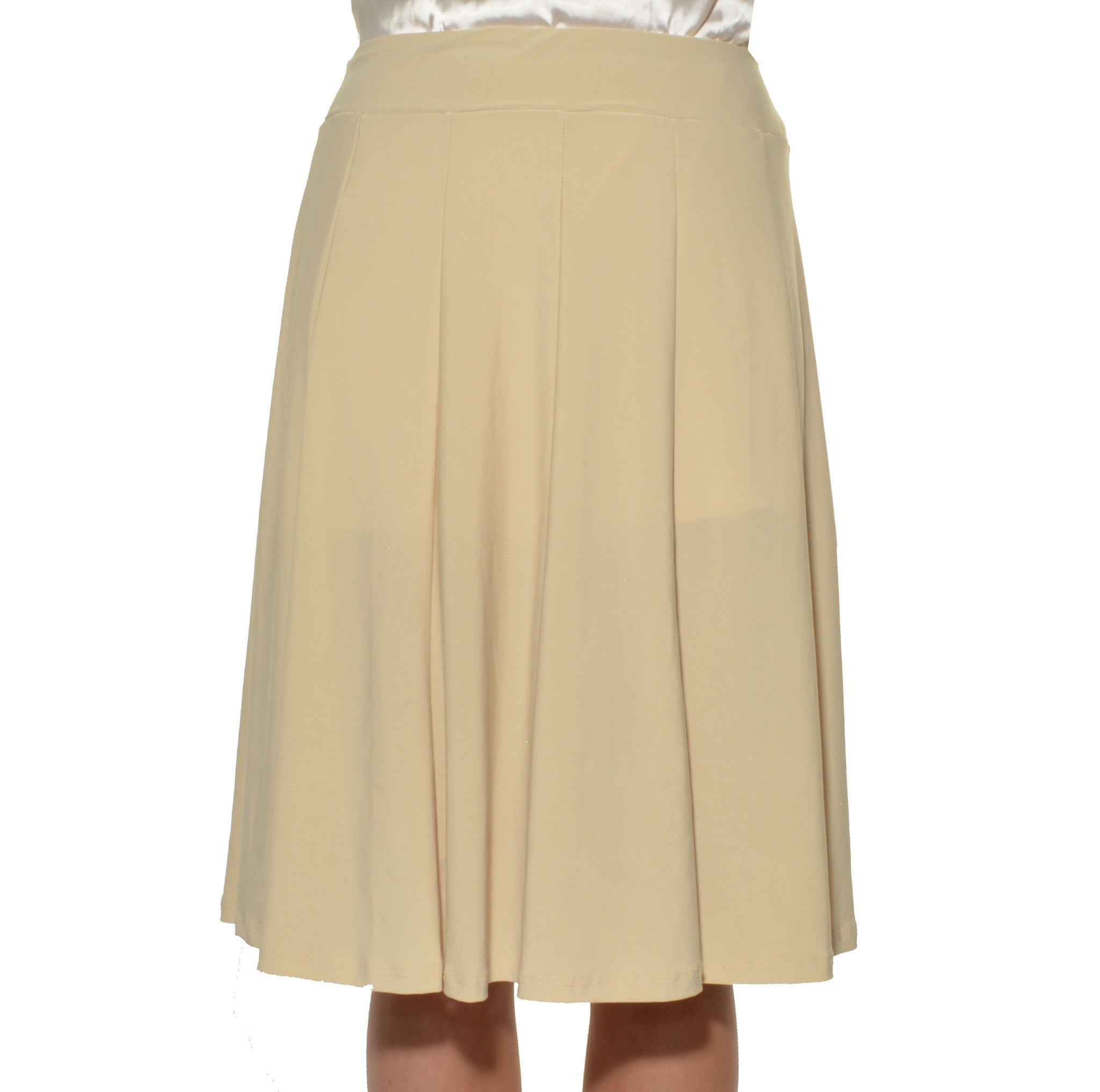 Avital Panel Aline Stretch Skirt (Beige Nude Brown),Skirts,Avital - Discount Divas