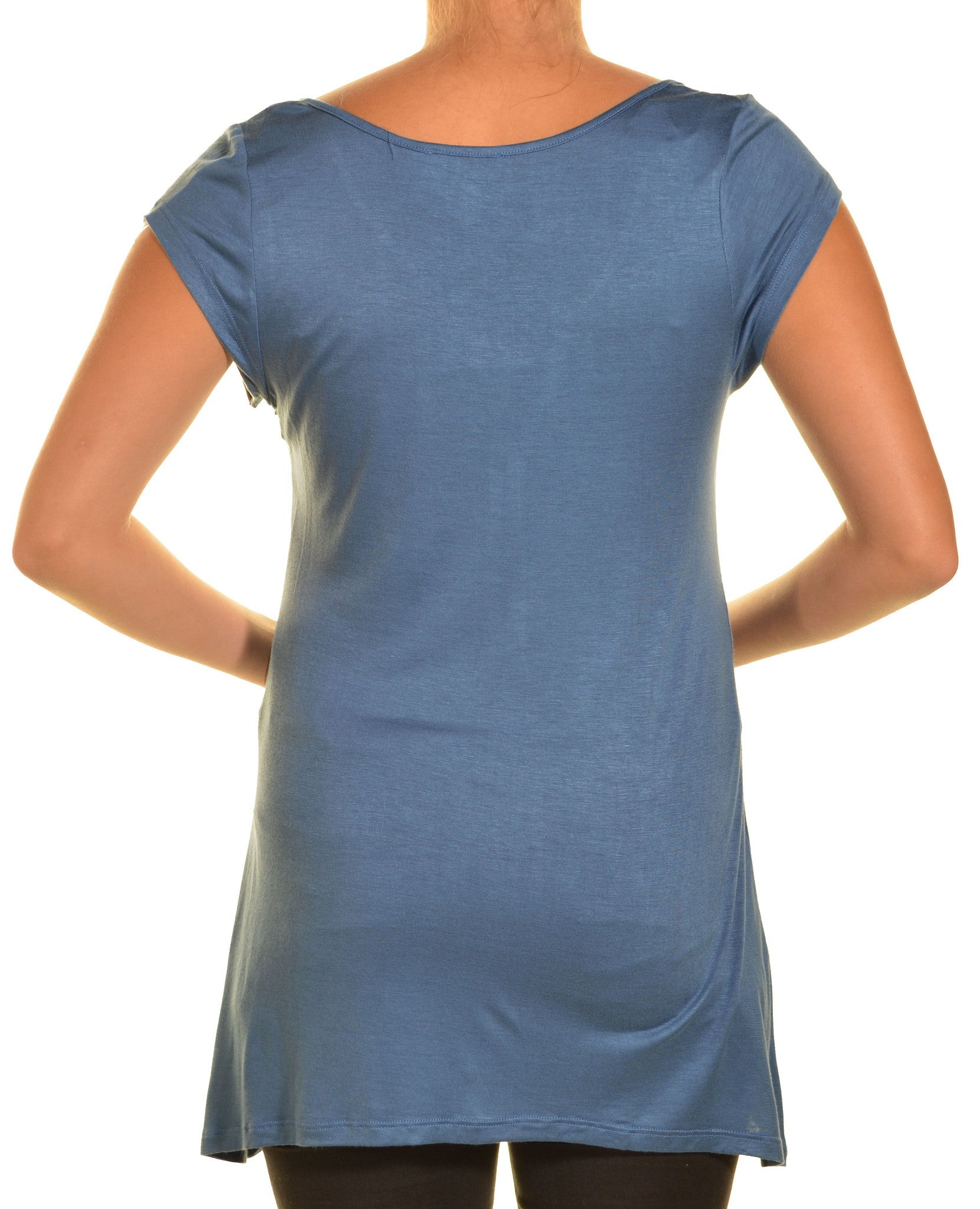 Ellie & Kate V-Neck Butter Soft Tunic Shirt | Blue