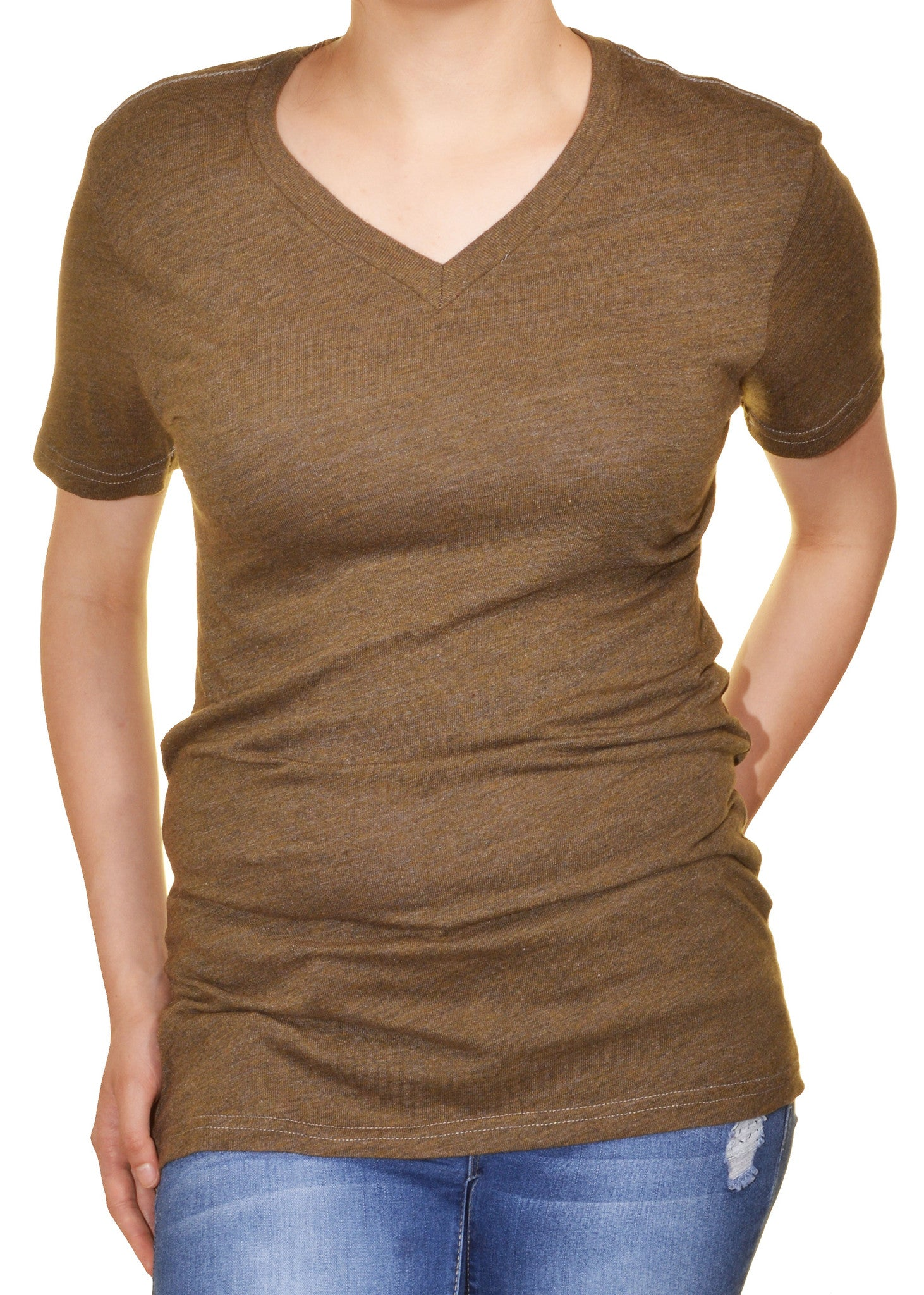 Gorilla Buffet Womens Long V-Neck Tshirt | Brown