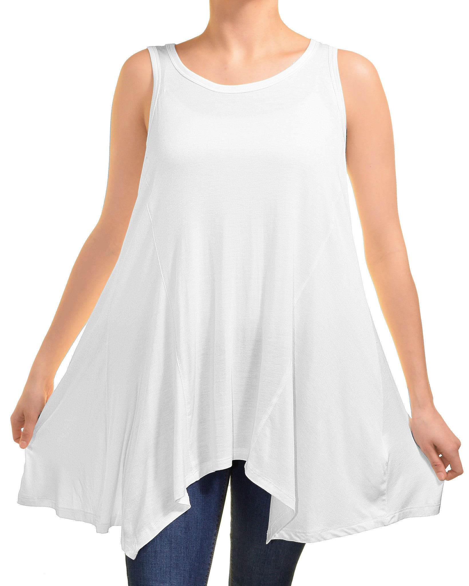 Ellie & Kate Ultrasoft Sharkbite Tank (White),Shirts,Ellie & Kate - Discount Divas