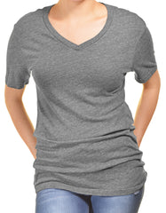 Gorilla Buffet Womens Long V-Neck Tshirt | Gray,Shirts,Gorilla Buffet - Discount Divas