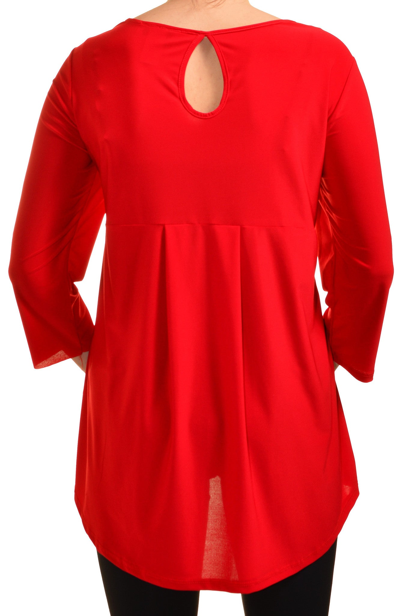 Avital Plus Size High Low Keyhole Back Shirt (Red),Shirts,Avital - Discount Divas