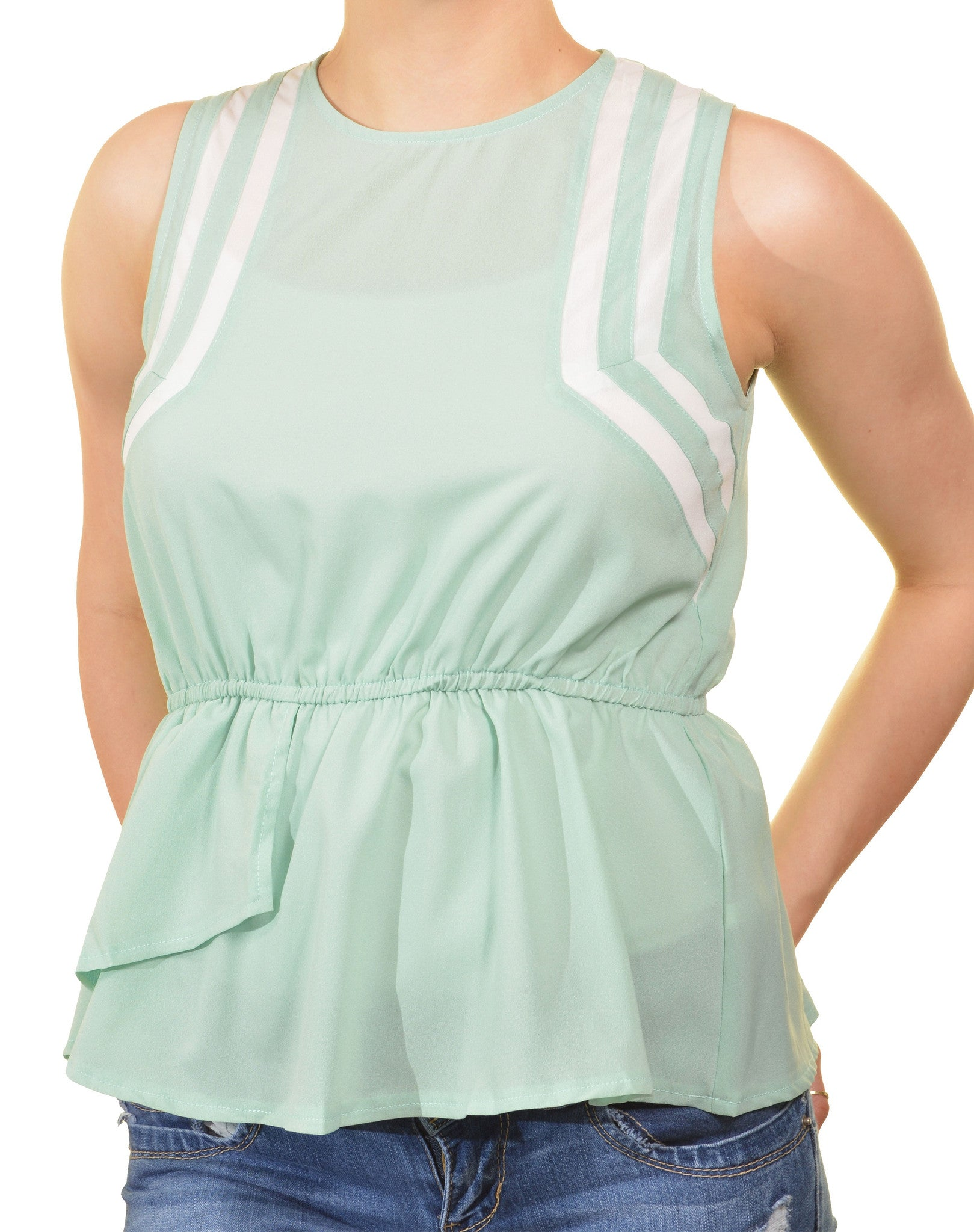 Grifflin Paris Colorblocked Peplum Shirt (Mint Green)