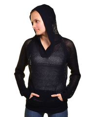 Shirt 469 Mesh Pullover Hooded Sweater (Navy Blue)